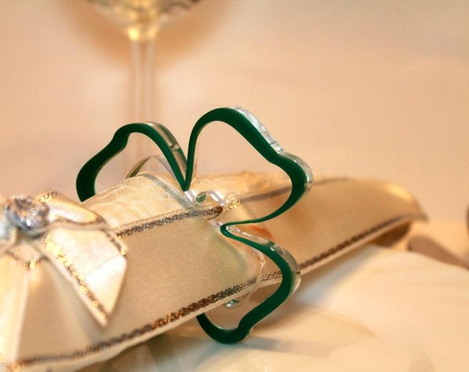 Green Napkin Ring Holders Shamrocks Ornament Irish Wedding Decorations St Patrick's Dinner Party decor Hostess Gift for Her St Patrick's Day