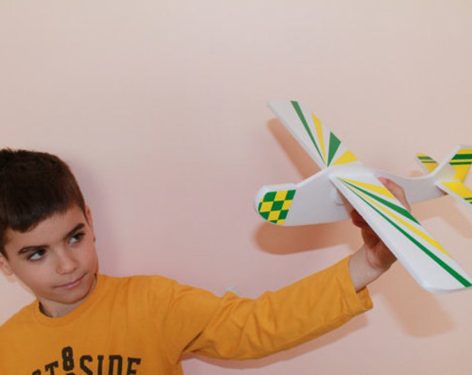 Set of 2 Handmade Airplane Foam Toy Gift for Boy Funny Outdoor Game Aeroplane Flying Blue Yellow Planes Kids Room Decor Mobile Flying Toys