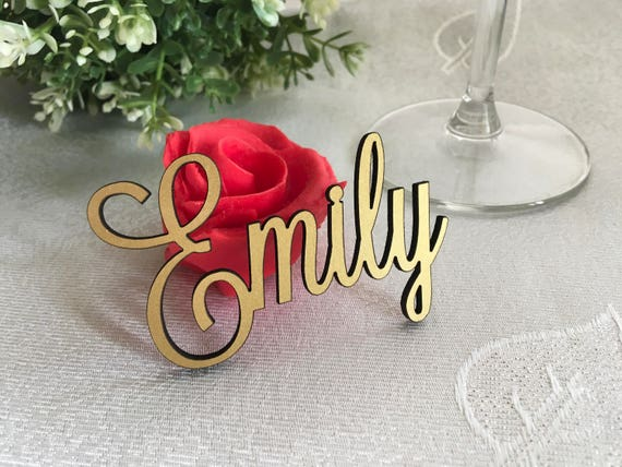 Laser cut table names for wedding parties Wedding seating Place cards Custom name settings Wooden place names Personalised calligraphy names