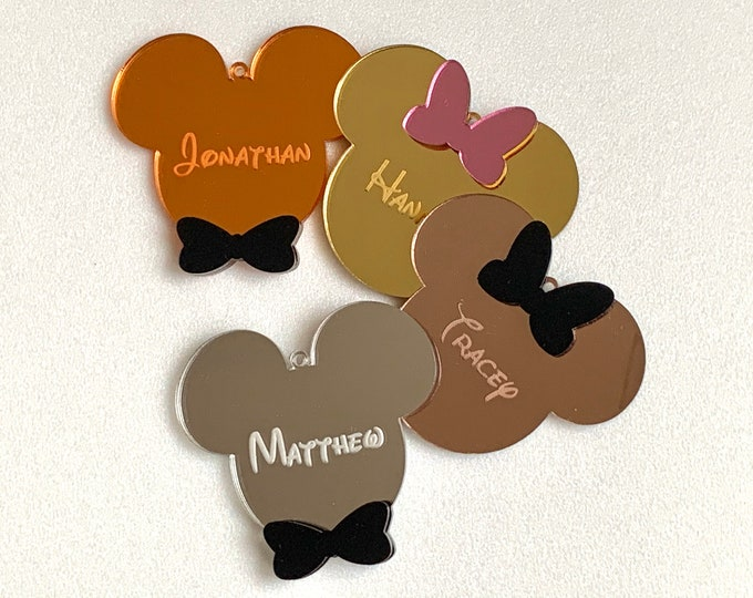 Personalized Mickey Mouse Head Mirrored Hanging Ornament Cutout Shape Custom Name Tag Unique Gift for Kids Disney Decoration Disneyland Sign