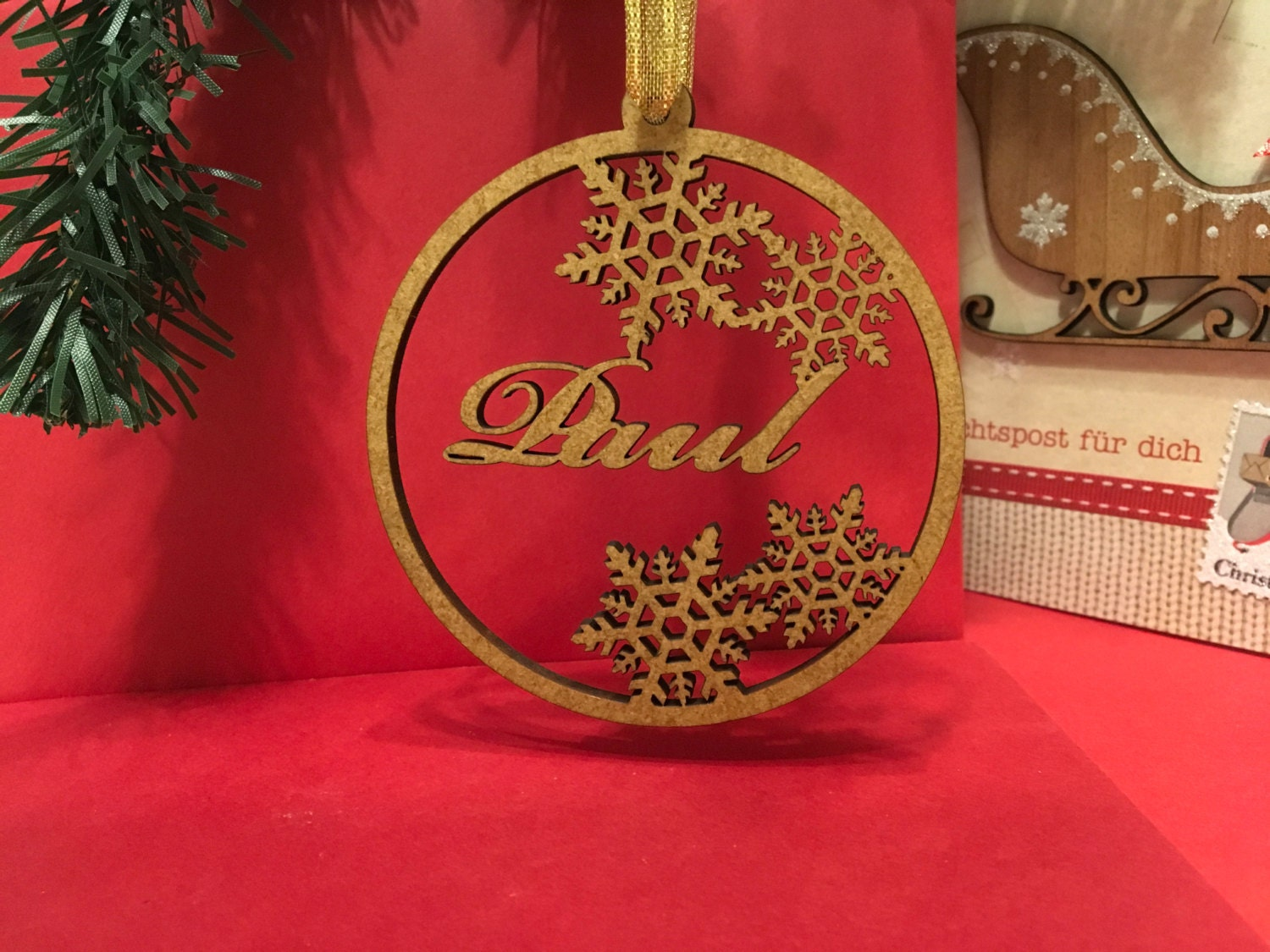 Personalised Bauble Wooden Name Bauble Christmas Gift Tags