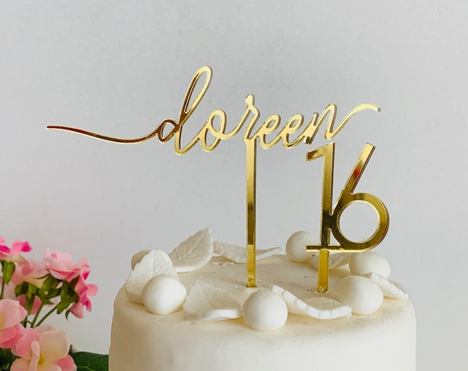Personalized Cake Topper Custom Name Topper Any Age Cupcake Cake Topper Decorations Calligraphy Customized Topper Happy 1st First Birthday