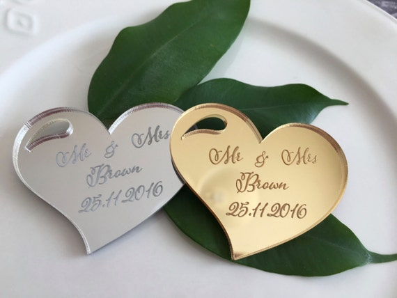 Save the date magnet Engraved hearts Wine Charms Custom wedding tag Personalised wedding invitations Wedding magnet Save date cards Mr & Mrs