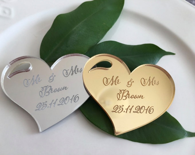 Personalized Save the date magnet Engraved hearts Wine Charms Custom wedding tag Wedding invitations Wedding magnet Save date cards Mr & Mrs