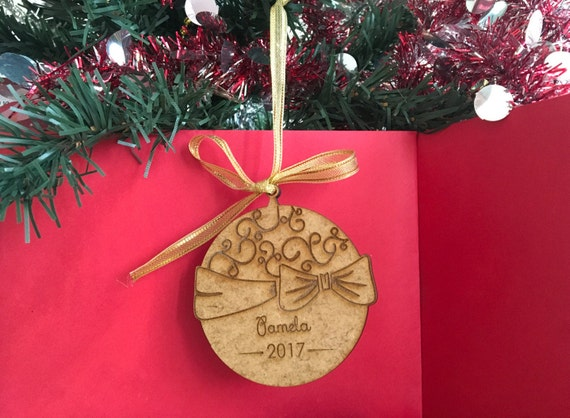 Christmas Tree Decorations Names.Wood Name Ornament Personalized Gift Wooden Laser Engraved Christmas Bauble Tree Decorations Xmas Tree Ornaments Personalised Year Hanging
