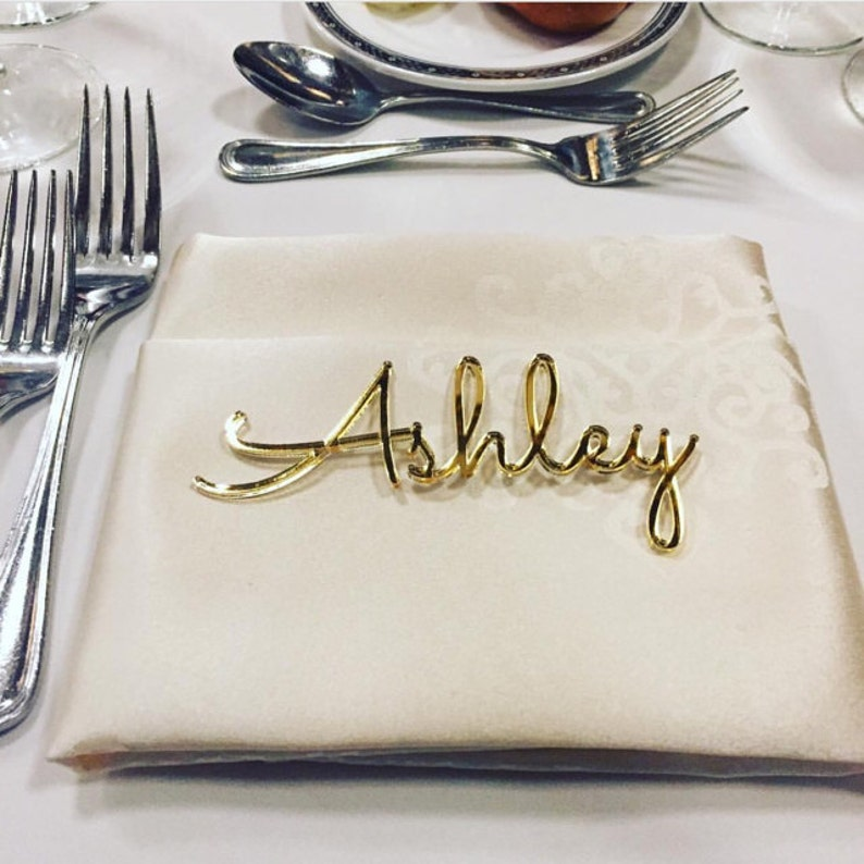 Personalized wedding place table cards Laser cut names Guest Gold Mirror