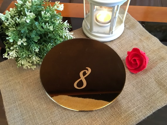 Laser engraved table numbers Wedding table numbers Etched mirror Table markers weddings Seating table numbers Reception Decor Number Signs