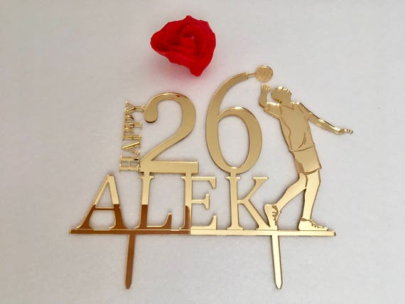 Volleyball Theme Cake Topper Sports Personalized Any Name Custom Age 20th 30th Volleyball player Boy Happy Birthday Party Gift for Him 40th