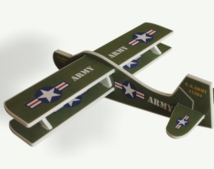 Airplane Toy, US Army, Toy Gliders, Air Plane Styrofoam, Biplane, Military Action Figures, Handmade, Airplane Aviation, Birthday Party Game