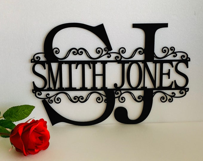 Two Letter Initials Split Wall Monogram 2 Custom Names Personalized Metal Hanging Sign First and Last Name, Housewarming, Anniversary Gifts