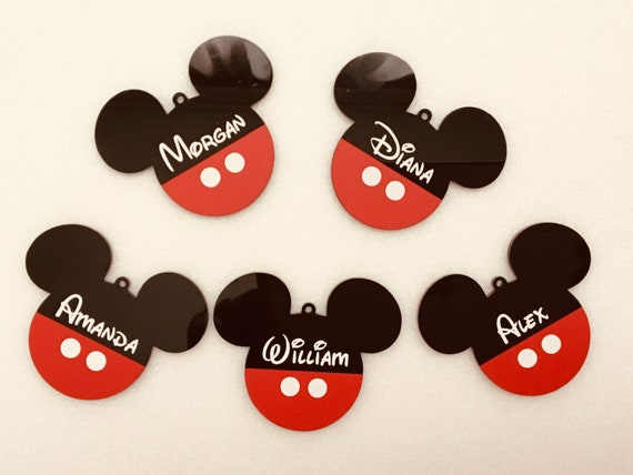 Personalized Mickey Mouse Name Ornaments Custom Disney Ears Birthday Party Decoration Black Red Hanging Bauble Tree Decor Baby Shower Party