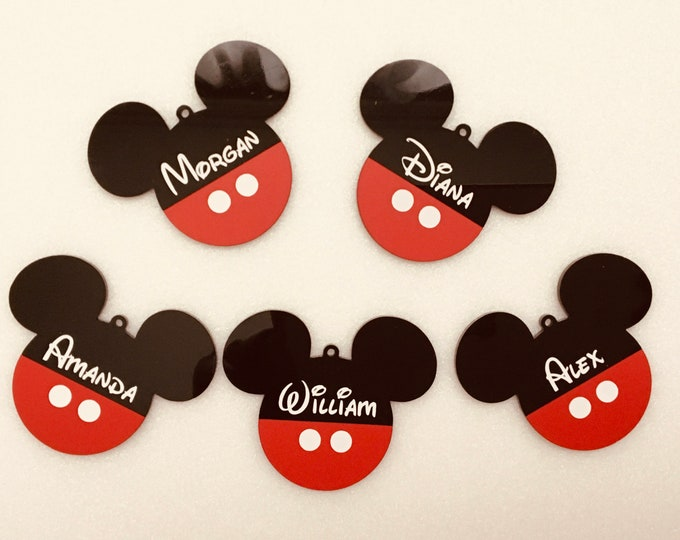 Personalized Mickey Mouse Head Name Ornaments Custom Disney Ears Birthday Party Decoration Black Red Hanging Bauble Tree Decor Baby Shower