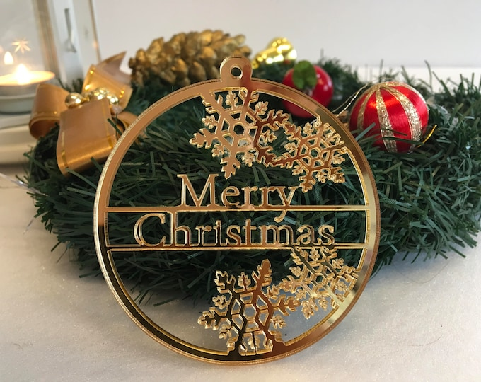Personalised ornaments Merry Christmas Custom bauble Happy New Year Xmas Gifts Tags Tree ornaments Family present Christmas tree decorations