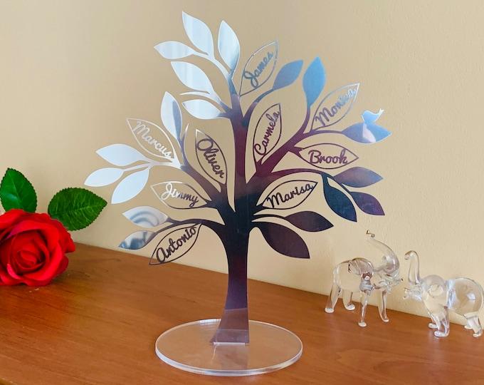 Personalized Family Name Tree Freestanding Ornament Custom Tabletop Laser Cut Names Keepsake Art Home Decor Christmas Birthday Gift for Mom