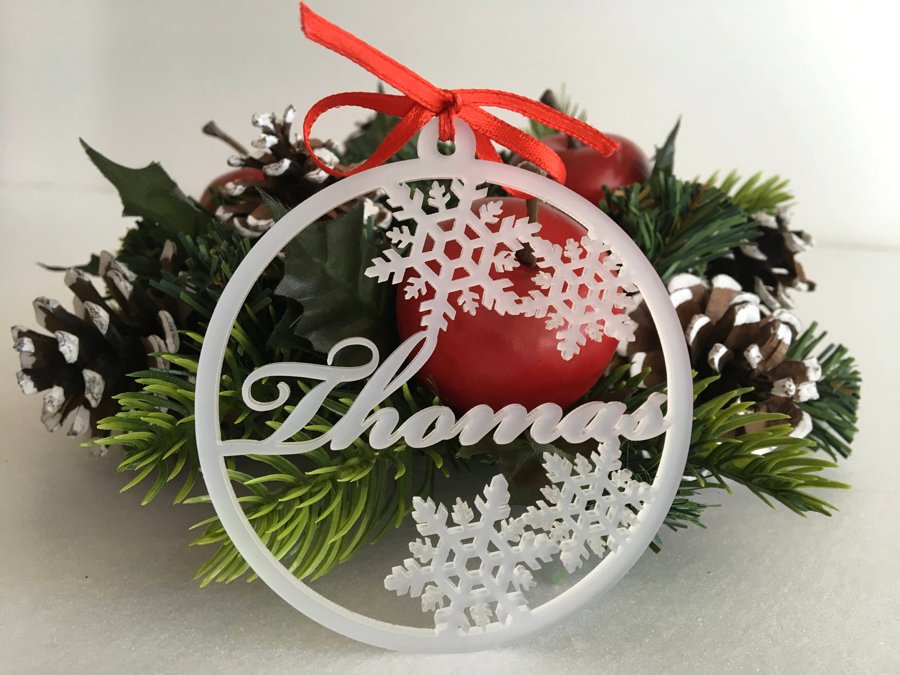personalised christmas baubles frosted white acrylic bauble xmas tree decorations custom name ornaments snowflakes custom family gift idea - Christmas Tree Decorations Names