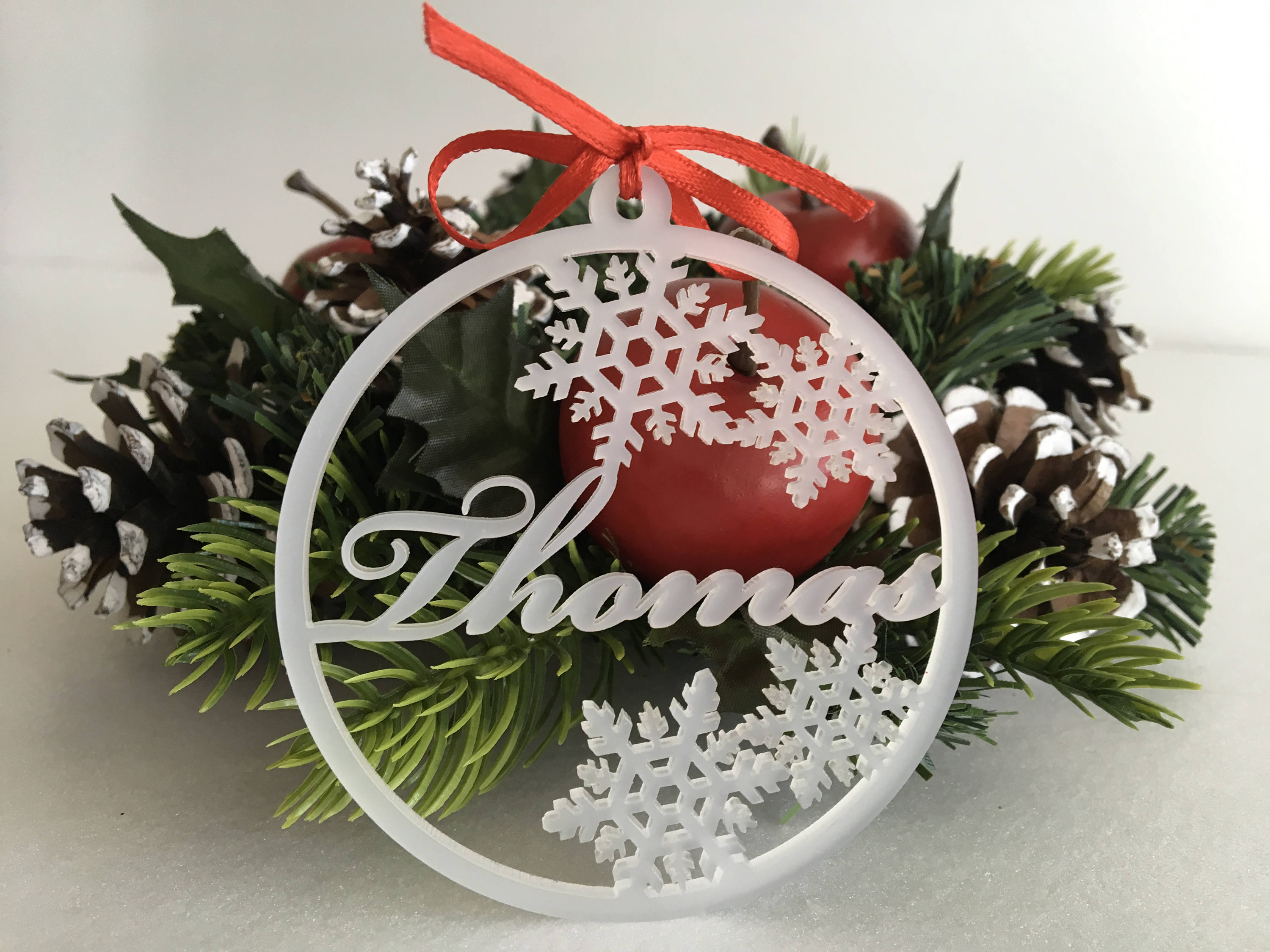personalised christmas baubles frosted white acrylic bauble xmas tree decorations custom name ornaments snowflakes custom family gift idea