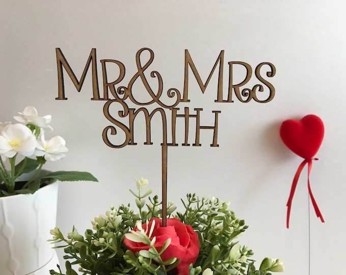 Customized Mr & Mrs Wood Cake Toppers Wedding Decorations Rustic Personalized Cake Decor Just Married Custom Anniversary Wood, Gold Glitter