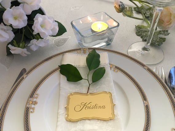 Personalized Wedding Dinner Party Names Laser Engraved Table Place Cards Settings gold acrylic tags Custom name plaque Personalized favors