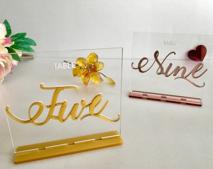 Rose Gold Table Numbers for Weddings Gold Matte Clear Acrylic Mirror Engraved Wedding Signs Elegant Number Holders Modern Party Decorations