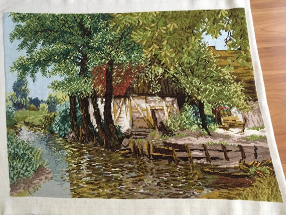 Original Wiehler Handmade Gobelin Desolate Watermill DMC Embroidery Vintage Tapestry Large Summer Day Hand Embroidered Needlepoint Unframed