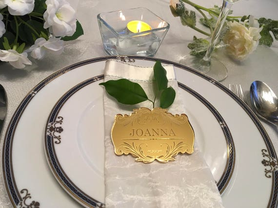 Personalized Acrylic Wedding Tile Place Cards Engraved Table Settings Custom Initials Table Place Names Etched Save the date Place Settings
