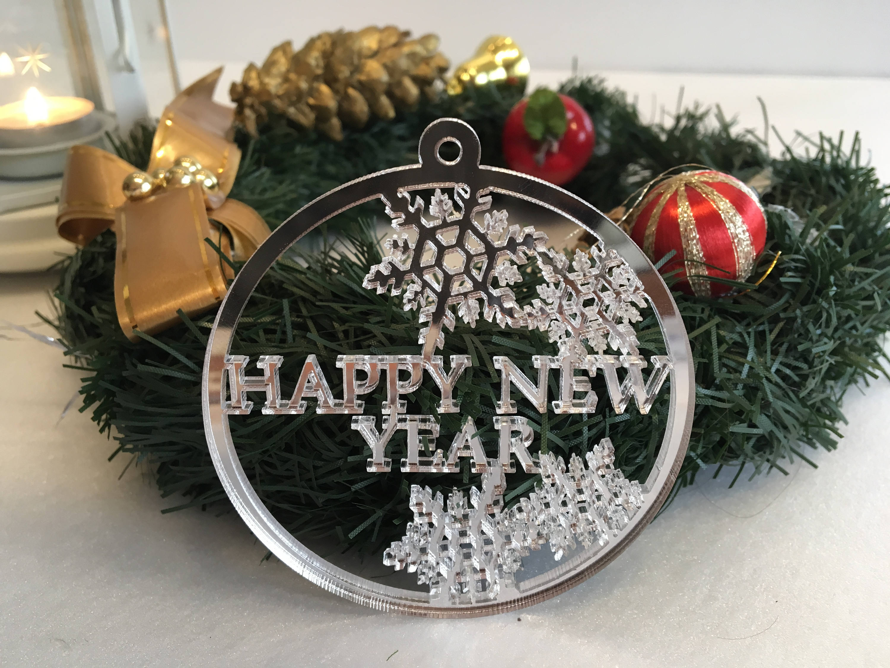 personalised xmas holiday baubles happy new year gift merry