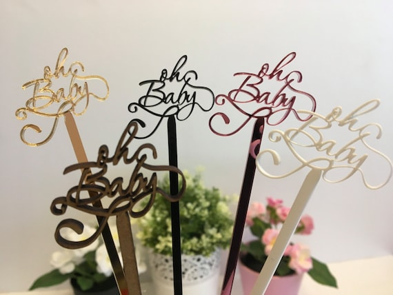 Oh Baby Cake Toppers Rustic baby shower Baby party decoration Personalised Stir Sticks Baby Shower pick Oh baby shower Baby shower topper