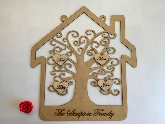 Personalized wood family tree frame Family Plaque Family sign Parents anniversary gifts Custom name family tree Wooden keepsake Wall hanging