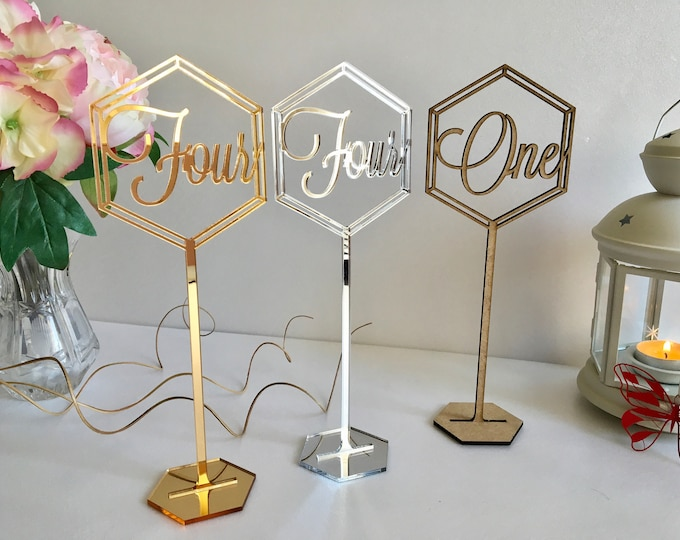 Wedding Standing Tall Table Number Word on sticks Wooden Hexagon Table Number Holders for Party & Event Freestanding Gold Table Number Signs
