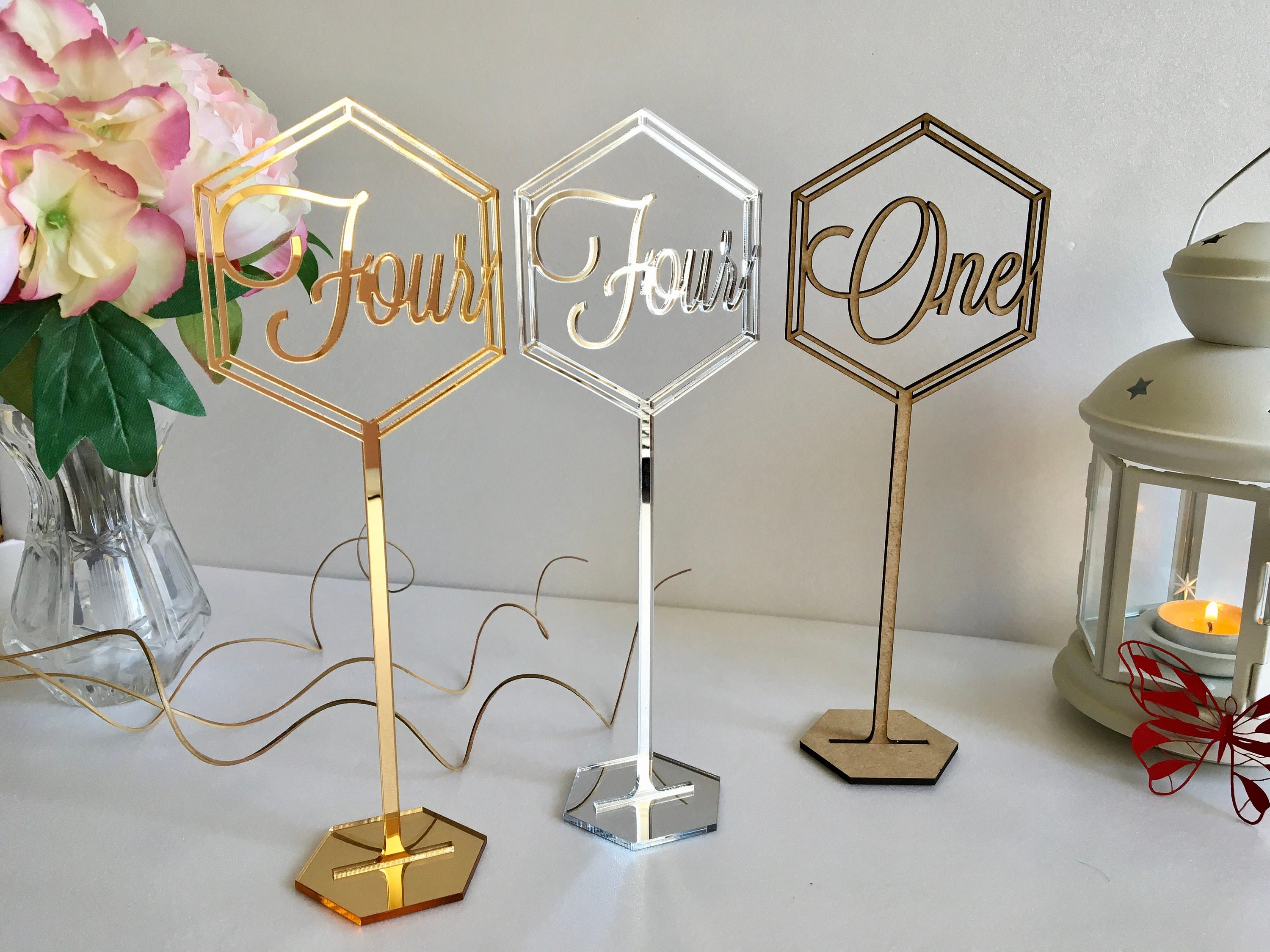 Set of 10 Freestanding wedding wooden table numbers with base//sticks