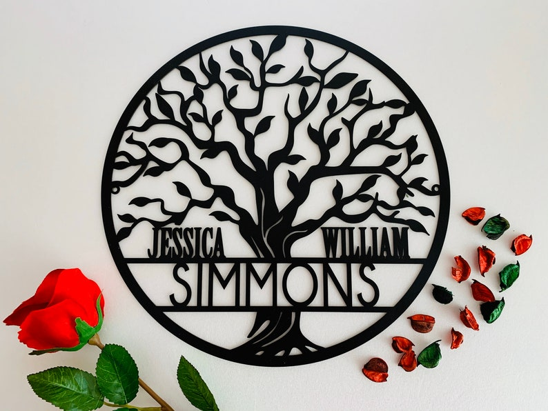 Personalized Tree of Life Metal Sign Custom Family Last Name image 0