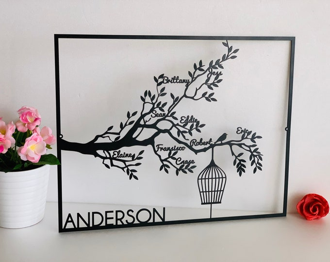Personalized Family Names Tree Life Custom Family Metal Signs Tree Branch with Birdcage Housewarming Wedding Gift Wall Art Decor Anniversary