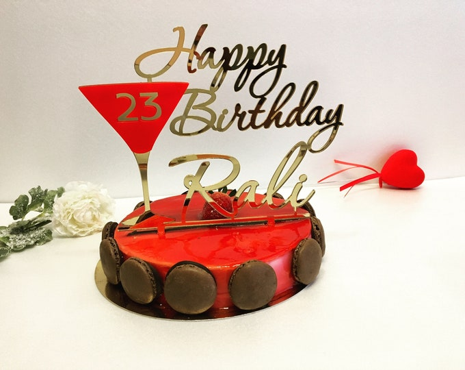 Personalized Cake Topper Happy 23rd Birthday Glass Toppers Custom Red Martini Champagne Any Name Age 20th 30th 40th 50th Unique Party Decor