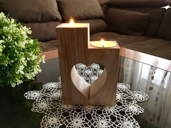 Xmas gift for her Set of handmade doily crochet and wood heart candle holder Handmade doilies table decorations Lace doily Tea light holders