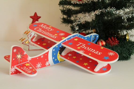 Red airplane Christmas ornament Christmas 2018 First baby's Christmas Kids room decor Personalised plane Christmas tree decor Christmas toys