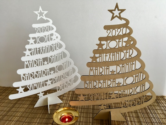 Personalized Family Name Christmas Tree Custom Xmas Gift Unique Ornament Christmas Decorations Laser Cut Names Handmade Freestanding Trees