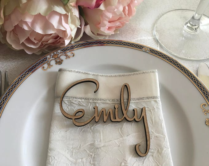 Custom Script Names Wedding Place Cards Rustic Name Cards Personalized Elegant Wooden Laser Cut Name Tags Wedding Reception Wood Place Signs