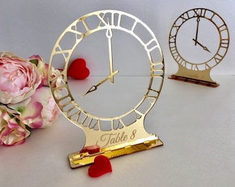 Laser Cut Clock Round Wedding Table Numbers Engraved Unique Freestanding Elegant Gold Acrylic Sign Modern Centerpieces Decor Number Holders
