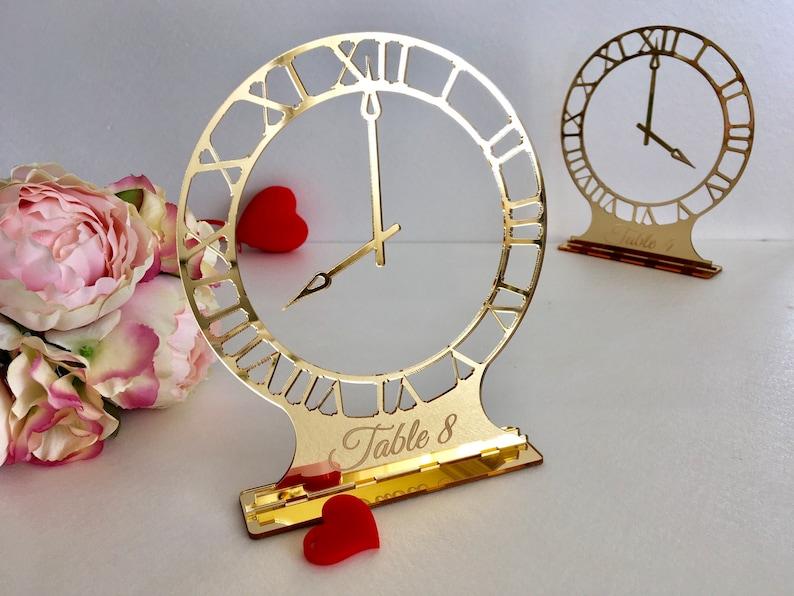 Miroir D/'or Acrylique nom de table circulaire Mariage Nom de lieu Laser Gravé