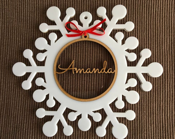 Personalized Christmas Wood Ornament Family Gifts Wooden Xmas Bauble White Acrylic Snowflake Name Tree Decorations Custom Name Bauble