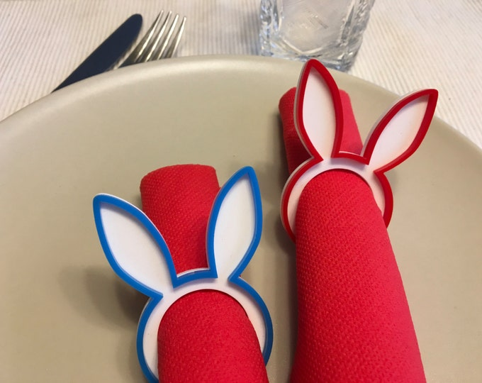 Bunny napkin ring holders Rabbit napkin rings Easter decorations Bunny head First Easter Dinner party Kids table accent Spring party favors