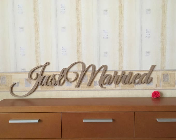 Just Married Sign Photo Prop Wedding Sign Wooden Personalized Wedding Decoration Laser Cut Letters Carved Wood Custom Sign for Photography