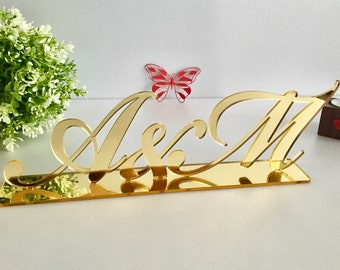 Wedding Initials Letters Bride and Groom Mr Mrs Personalized Couples Table Signs Custom Bridal Shower Reception Decor Freestanding Monogram