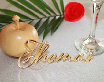 Laser cut names Personalized name place setting Guest names Wedding place cards Acrylic name cards Wooden name place cards Custom name sign