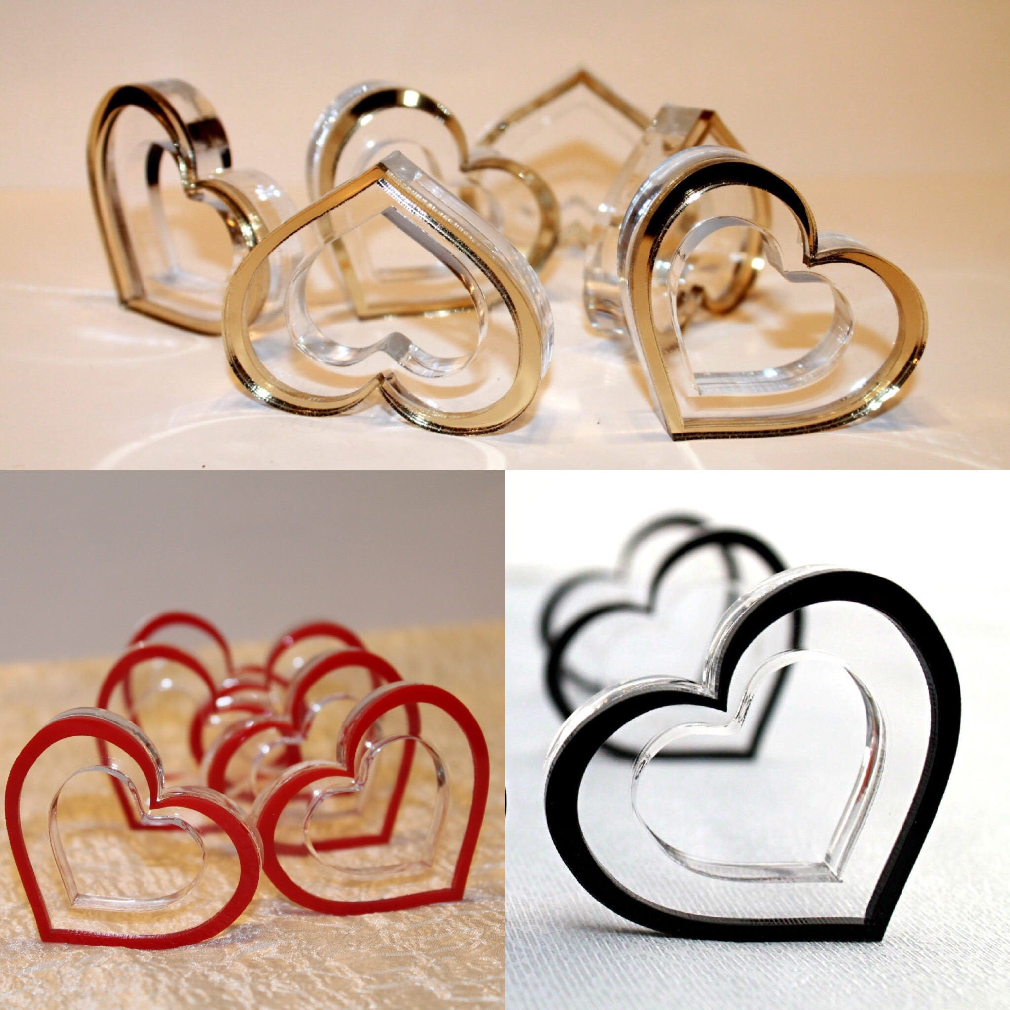 Wedding Napkin Rings Red Gold Hearts Napkin Ring Holders Bridal Shower Table Decor Centerpiece Birthday Party Favors Valentines Day Decor