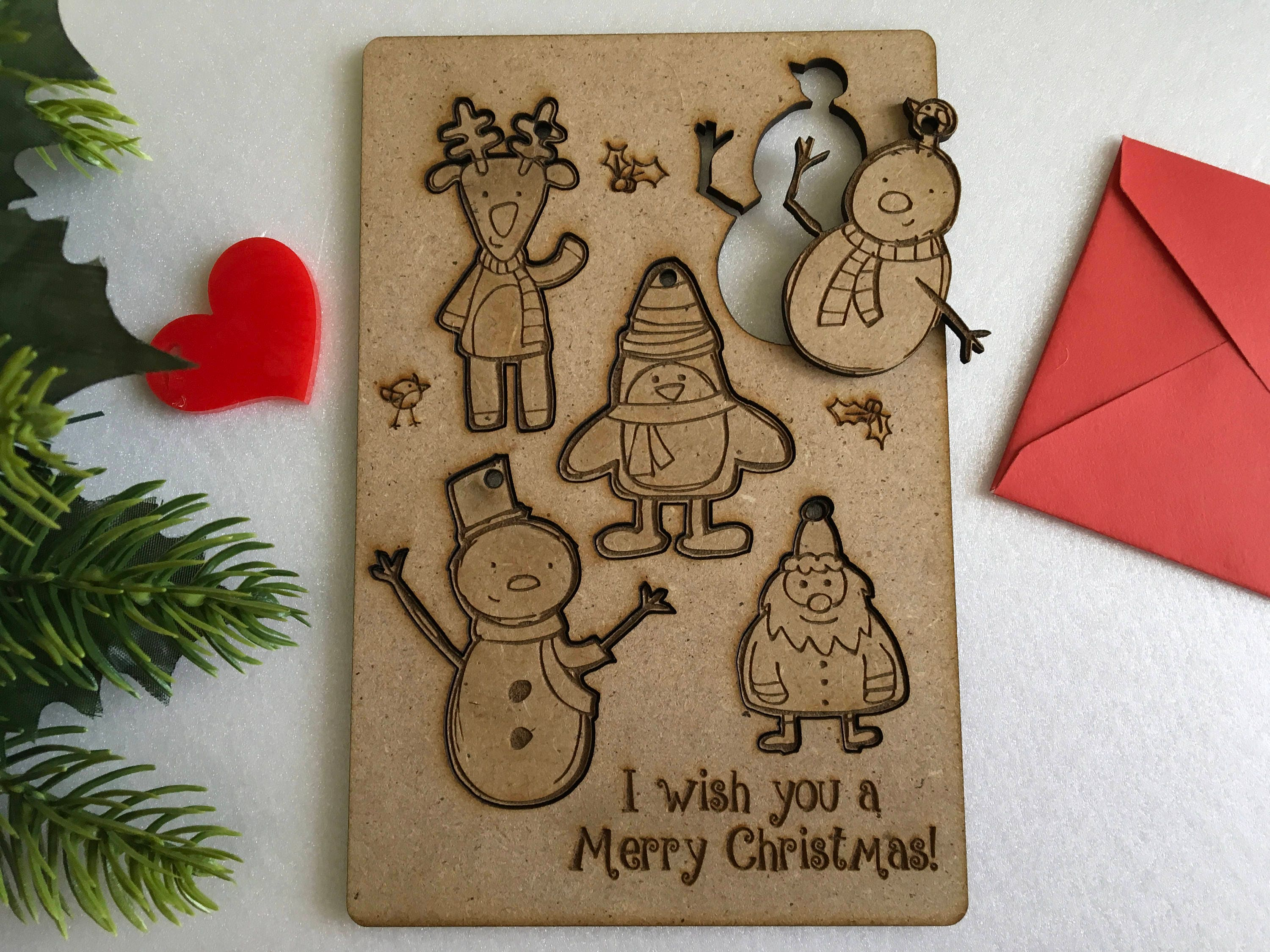 Personalized Christmas Greeting Kids Cards Laser Cut Wooden Greeting