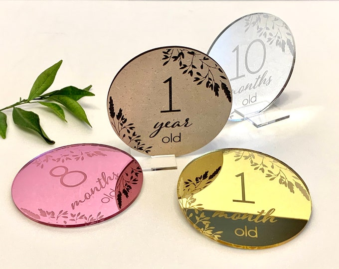Personalized Cards Laser Engraved Wood Baby Monthly Milestone Discs Wooden Mirrored Acrylic Baby Shower Gift (One Month to One Year) Newborn