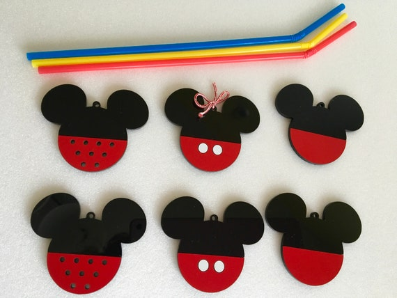 Handmade Mickey Mouse Ears Hanging Ornaments Unique Acrylic Baubles Minnie Disney Decorations Black Red Tree Decor Birthday Gift for Kids