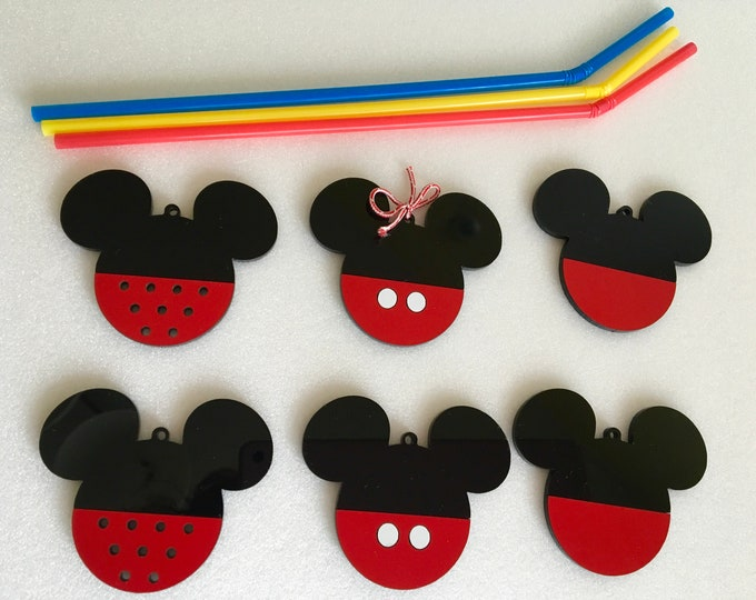 Handmade Mickey Mouse Head Hanging Ornament Unique Acrylic Bauble Minnie Ears Disney Decorations Black Red Tree Decor Birthday Gift for Kids