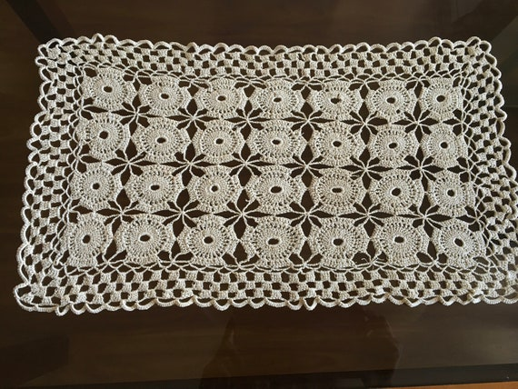 Large Doily Crochet Vintage Wedding Rectangle Handmade Tablecloth Table Topper Centerpiece White Crochet Linen Lace Doilies Gift for Bride